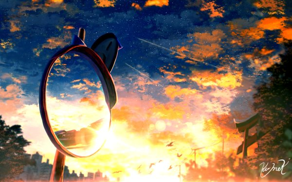 Anime Original Sunset Mirror Starry Sky HD Wallpaper | Background Image