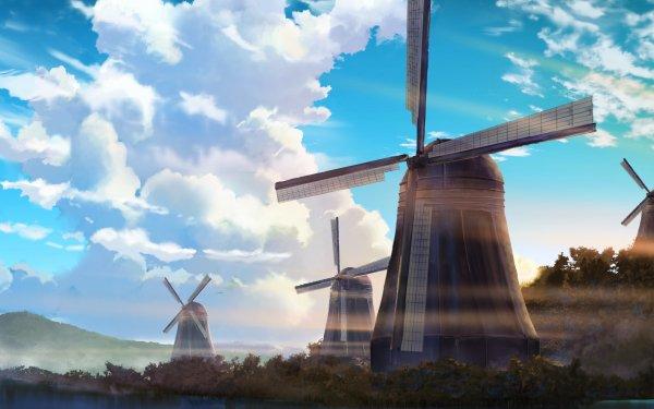 Anime Original Sky Cloud Windmill HD Wallpaper | Background Image