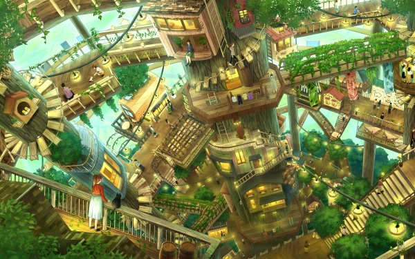 Anime Original Treehouse HD Wallpaper | Background Image