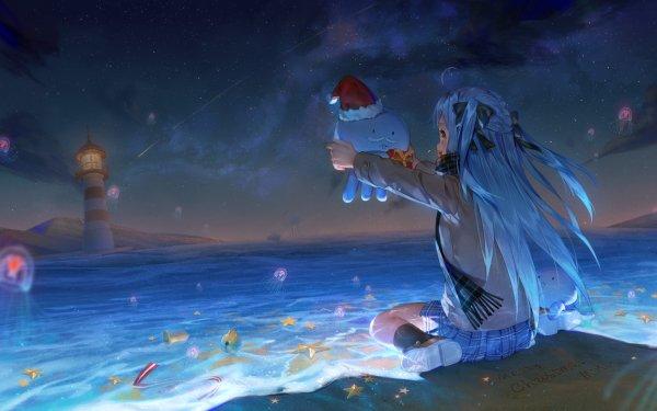 Anime Virtual Youtuber Merry Christmas Ocean Blue Hair Long Hair Jellyfish Lighthouse HD Wallpaper   Background Image