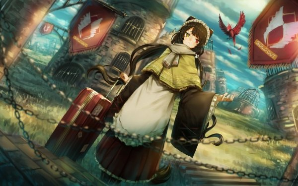 Anime Virtual Youtuber Suitcase Phoenix Nijisanji Inui Toko Long Hair Heterochromia Brown Hair HD Wallpaper | Background Image