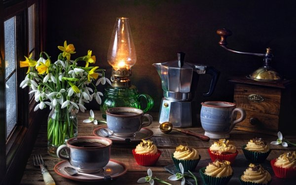 Photography Still Life Flower Coffee Snowdrop Cup Cupcake Drink Oil Lamp HD Wallpaper   Background Image