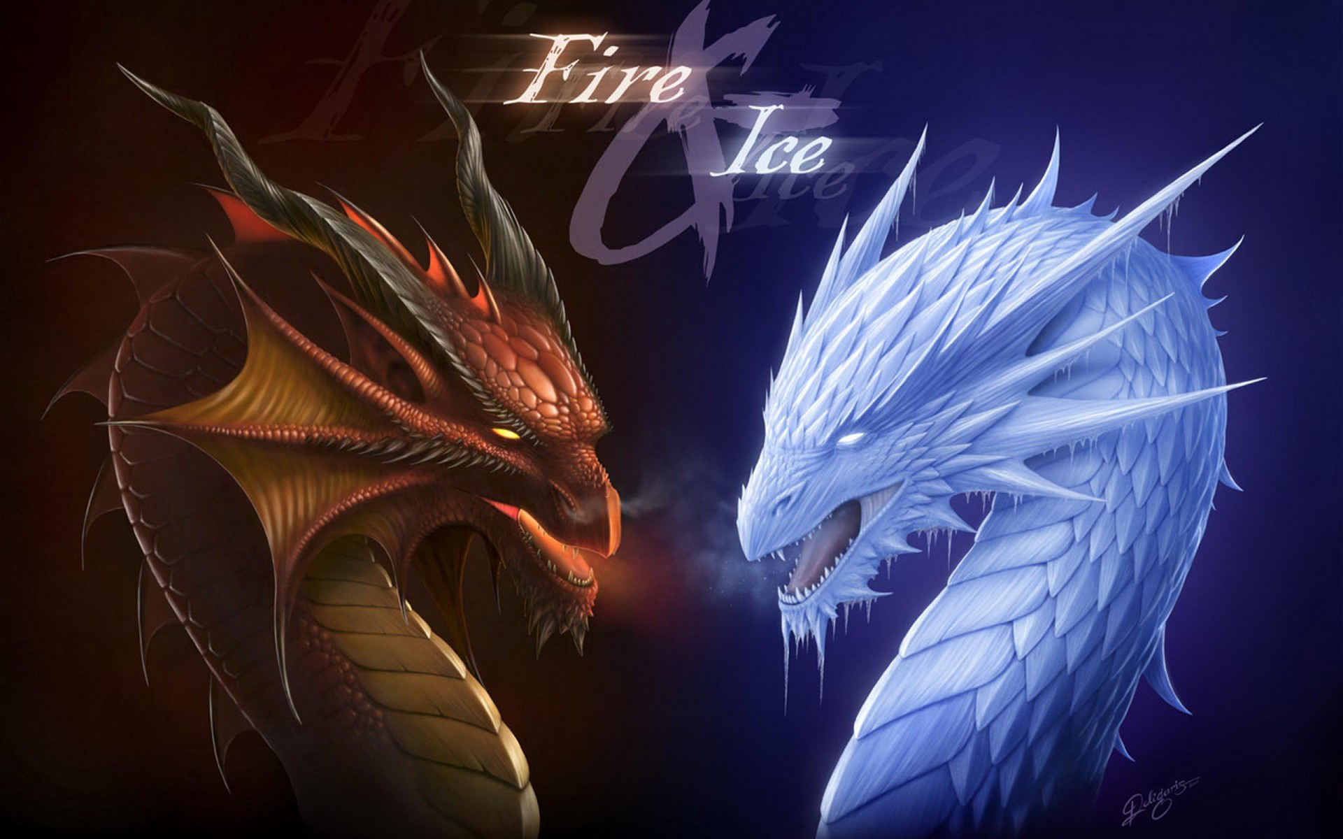 Fantasy - Dragon  Fire Frost Fantasy Ice Wallpaper