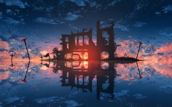 Anime Original Water Sunset Ruin Power Line Angel Silhouette Reflection HD Wallpaper | Background Image