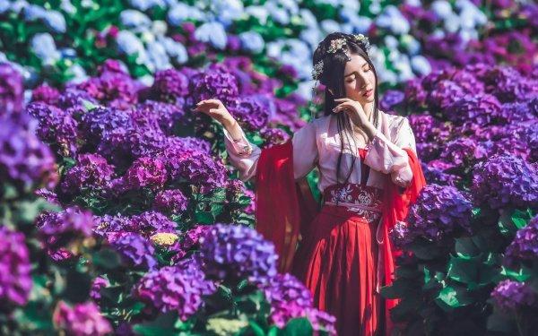 Women Asian Flower Mood Hydrangea Black Hair Purple Flower HD Wallpaper | Background Image