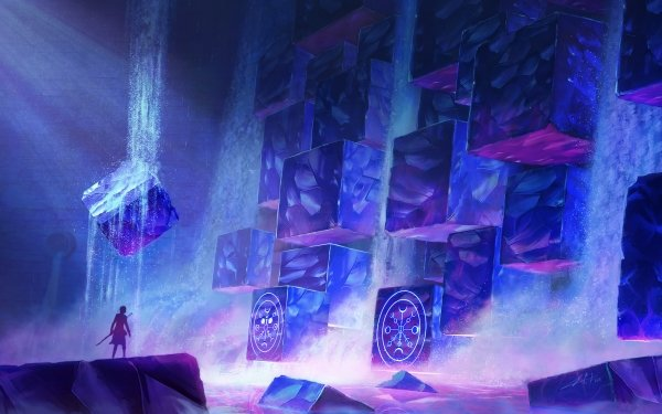 Fantasy Magic Waterfall Cube HD Wallpaper | Background Image