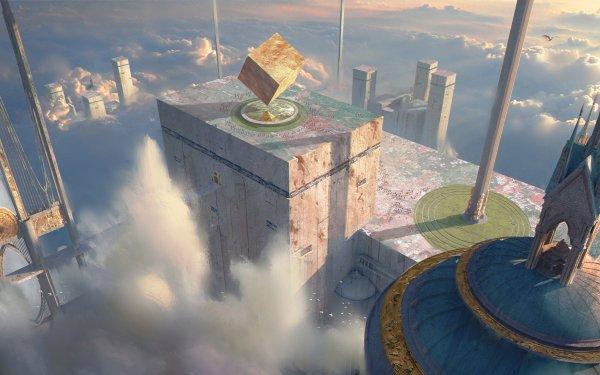 Fantasy Temple Cube Building Cloud HD Wallpaper | Background Image