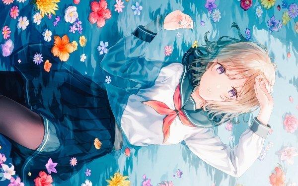 Anime Girl Flower Water School Uniform Skirt Blonde Purple Eyes Short Hair HD Wallpaper | Background Image