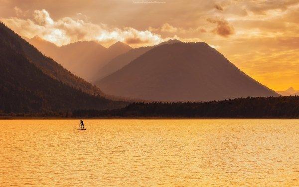 Photography Landscape Sunrise Surfing Lake HD Wallpaper   Background Image