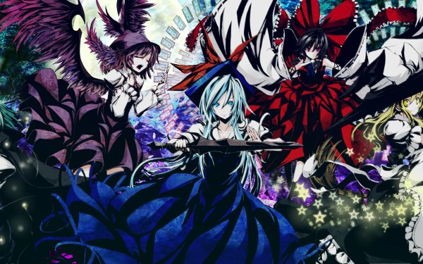 Anime Touhou Reimu Hakurei Marisa Kirisame Mystia Lorelei Wriggle Nightbug HD Wallpaper | Background Image