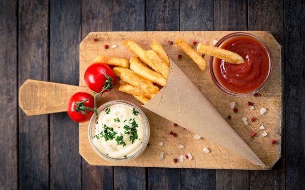 Food Potato French Fries Tomato Sauce HD Wallpaper | Background Image