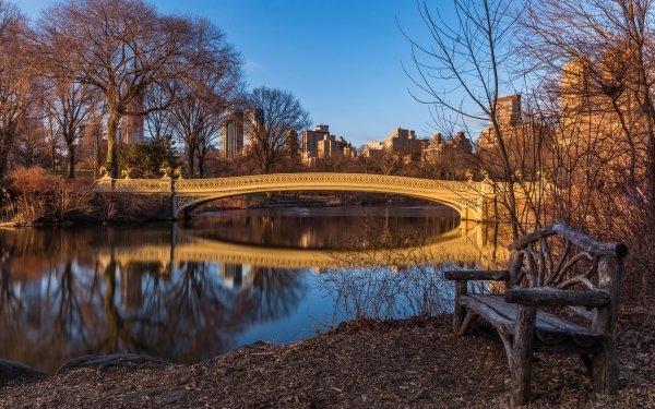 Man Made Central Park Bridge New York USA Bench Pond Bow Bridge HD Wallpaper | Background Image