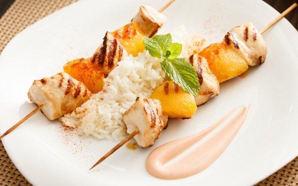 Alimento Barbacoa Pollo Carne Rice Pineapple Sauce Fondo de pantalla HD | Fondo de Escritorio