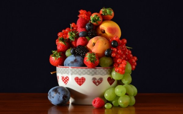 Food Still Life Grapes Plum Nectarine Strawberry Currants Raspberry Blueberry Blackberry HD Wallpaper   Background Image
