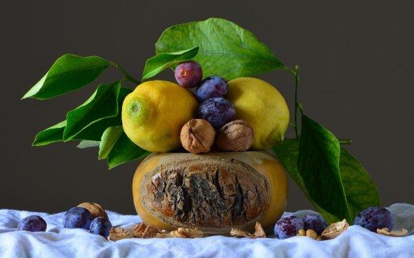 Food Still Life Lemon Plum Walnut HD Wallpaper   Background Image