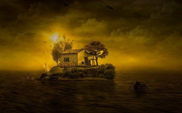 Fantaisie Island Coucher de Soleil Bateau Fond d'écran HD | Arrière-Plan