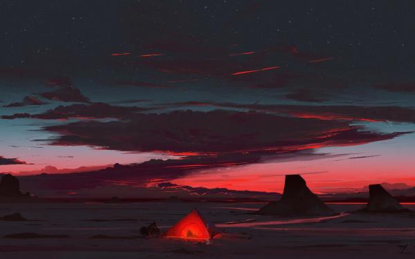 Artistic Landscape Night Sky Rock Tent HD Wallpaper | Background Image