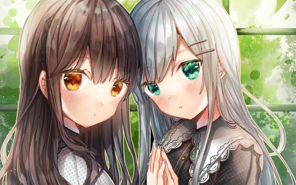 Anime Original Orange Eyes Brown Hair Green Eyes Grey Hair HD Wallpaper   Background Image