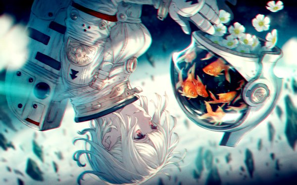 Anime Original Astronaut Fish White Hair Pink Eyes Short Hair Space Suit HD Wallpaper | Background Image