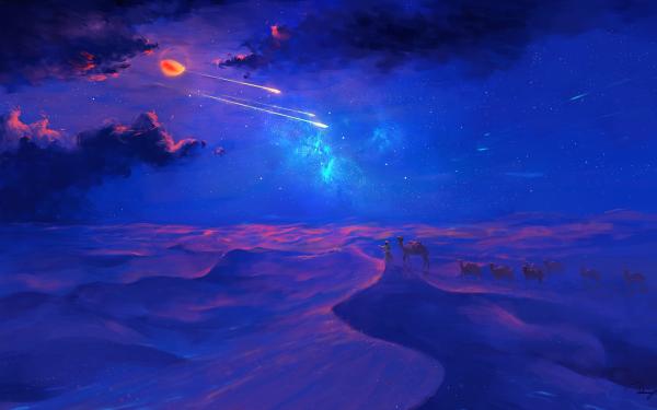 Fantasy Landscape Moon Camel HD Wallpaper   Background Image