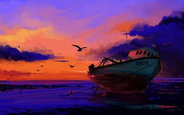 Vehicles Boat Sunset HD Wallpaper   Background Image