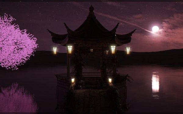 Artistic Night Lake Tree Moon HD Wallpaper | Background Image