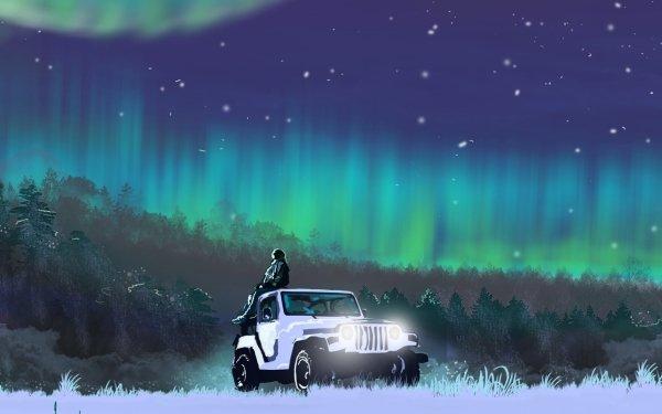 Artistic Landscape Girls & Cars Aurora Borealis Sky HD Wallpaper | Background Image