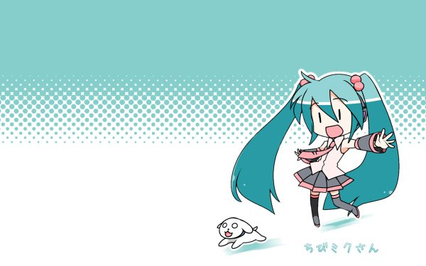 Anime Vocaloid Chibi Hachune Miku Puppy HD Wallpaper | Background Image