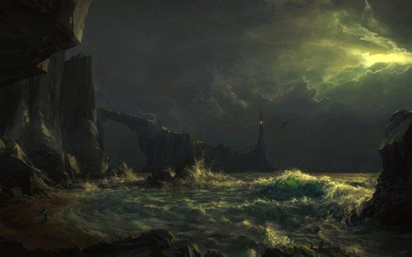 Fantasy Dark Night Lighthouse Ocean HD Wallpaper | Background Image