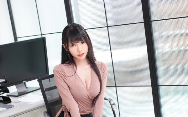 Women Asian Model Long Hair Black Hair HD Wallpaper   Background Image