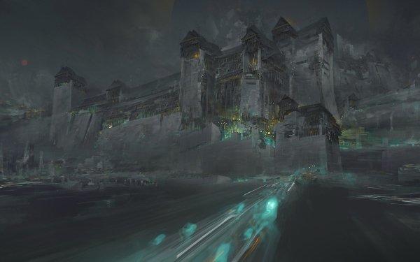 Oscuro Castle Castillos Artístico Noche Fondo de pantalla HD | Fondo de Escritorio