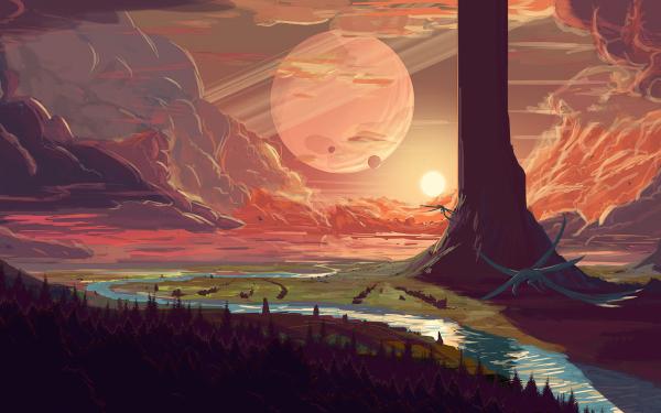 Fantasy Landscape Sky River Dragon HD Wallpaper   Background Image