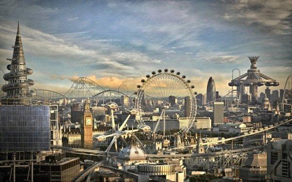 Artistic City Futuristic Ferris Wheel HD Wallpaper   Background Image