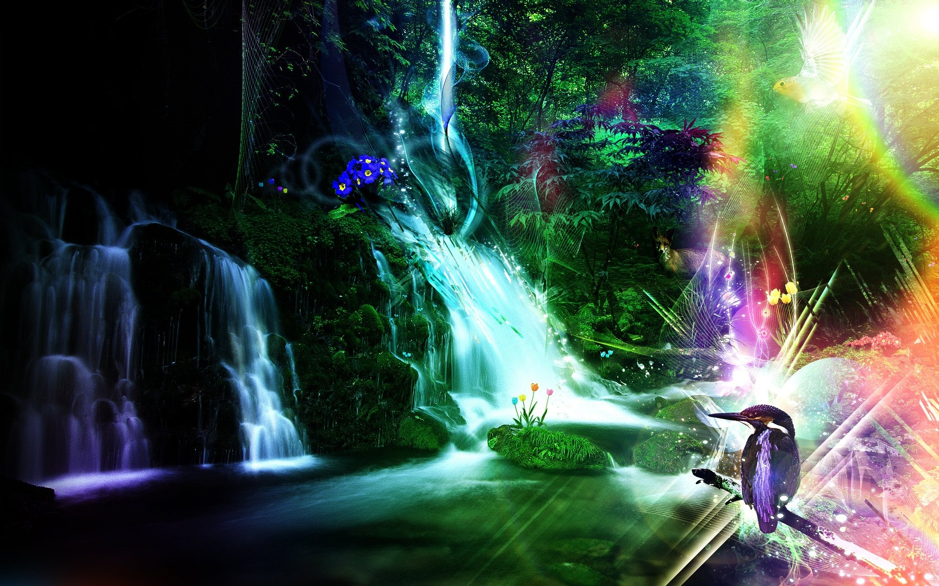 CGI - Fantasy  Fox Kingfisher Waterfall Wallpaper