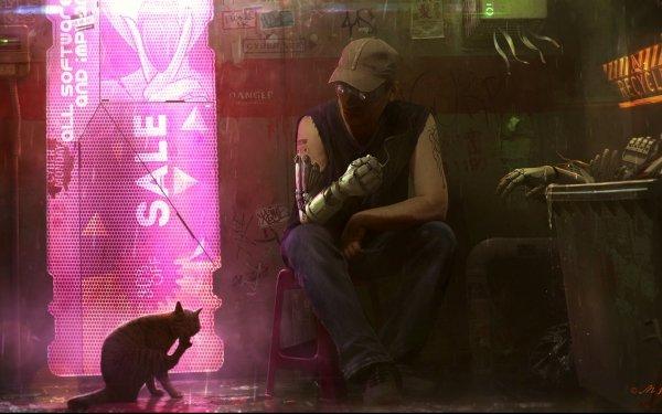 Sci Fi Cyberpunk Cyborg Cat HD Wallpaper | Background Image