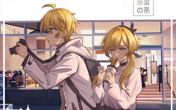 Videospel Genshin Impact Aether Lumine Blond Yellow Eyes HD Wallpaper | Achtergrond