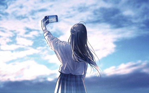 Anime Girl Sky Cloud Phone Selfie HD Wallpaper | Background Image