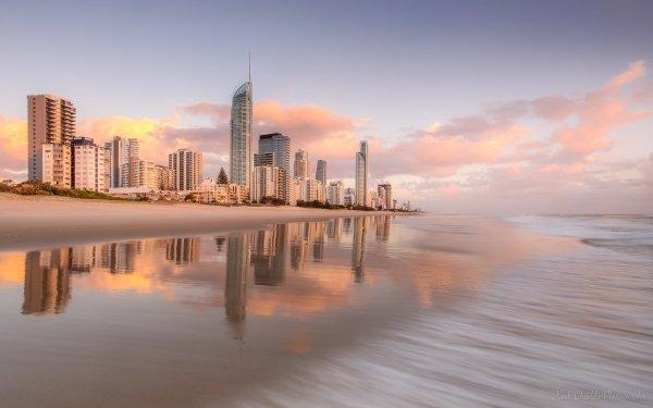 Man Made Gold Coast Cities Australia Ocean Sunrise Brisbane HD Wallpaper   Background Image