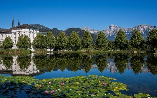 Religious Abbey Mountain Reflection River Austria Alps Monastery HD Wallpaper | Background Image