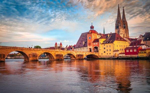 Man Made City Cities Germany Bavaria Regensburg Bridge HD Wallpaper | Background Image