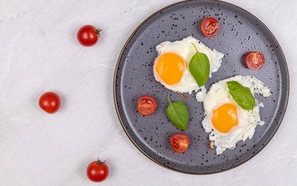 Food Egg Fried Egg Cherry Tomato HD Wallpaper   Background Image