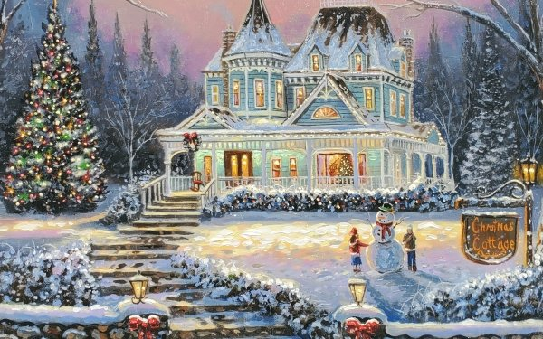 Holiday Christmas Cottage Christmas Lights Christmas Tree Snowman HD Wallpaper | Background Image