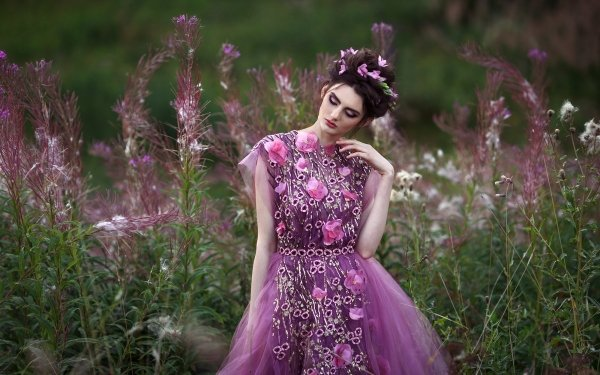Women Model Models Girl Mood Dress Flower HD Wallpaper | Background Image