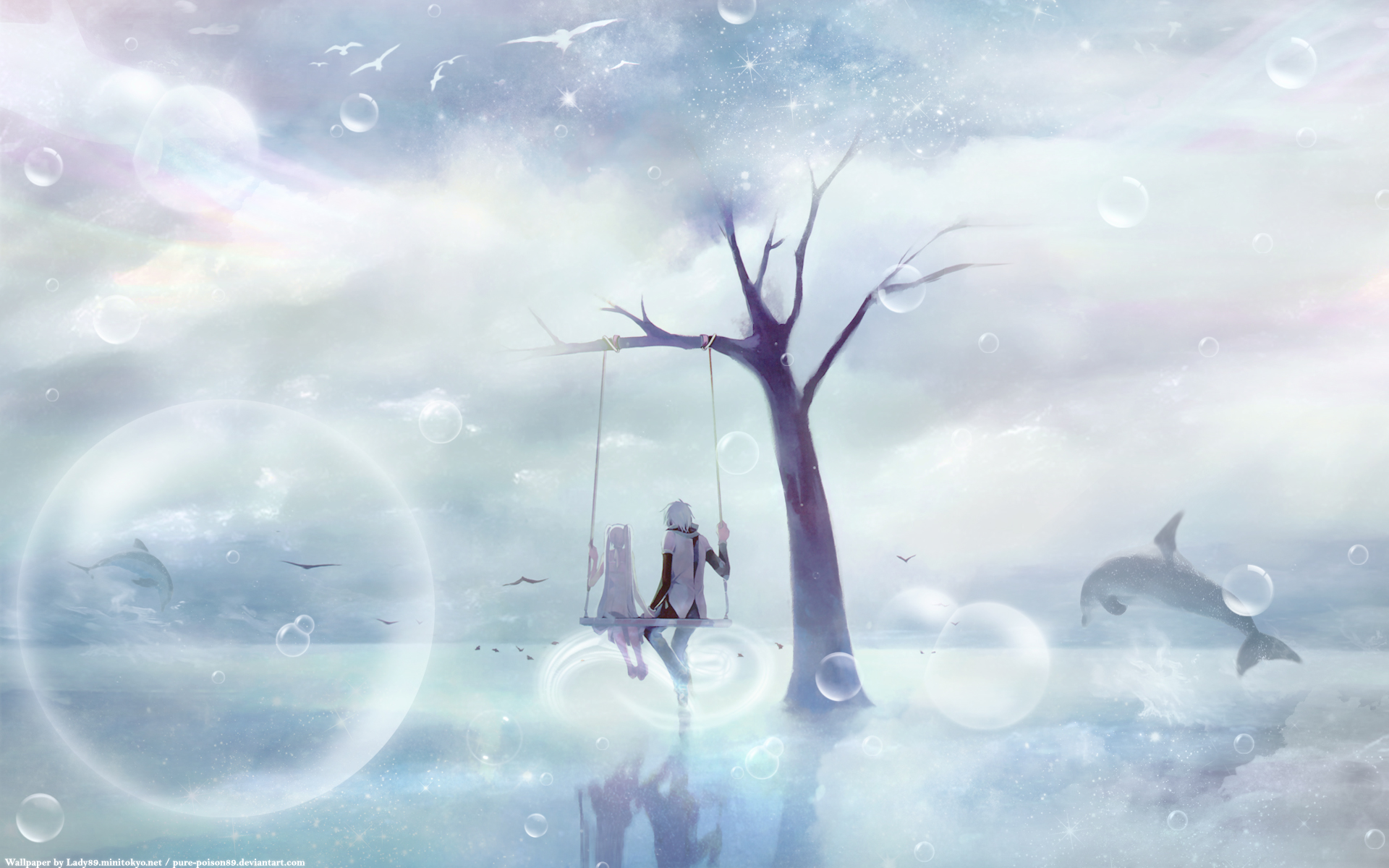 Anime - Vocaloid  - Hatsune Miku - Dolphin - Cloud - Hatsune - Miku - Kaito - Shion - Kaito Shion Papel de Parede