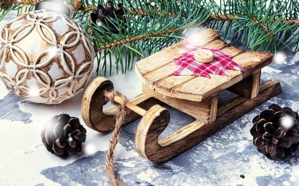 Holiday Christmas Pine Cone Sled Bauble HD Wallpaper   Background Image