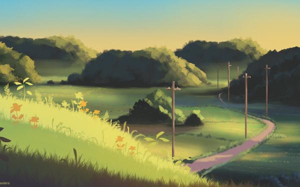 Anime Road Landscape HD Wallpaper   Background Image