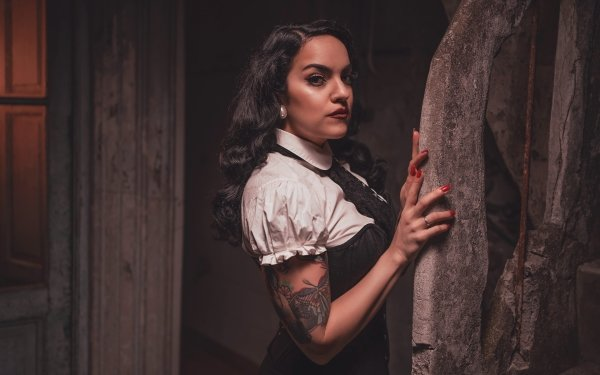 Women Model Models Black Hair Tattoo Lipstick HD Wallpaper | Background Image