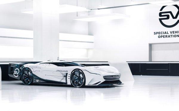 Vehicles Jaguar Vision Gran Turismo SV Jaguar Sport Car Supercar Concept Car White Car Car Coupé HD Wallpaper | Background Image