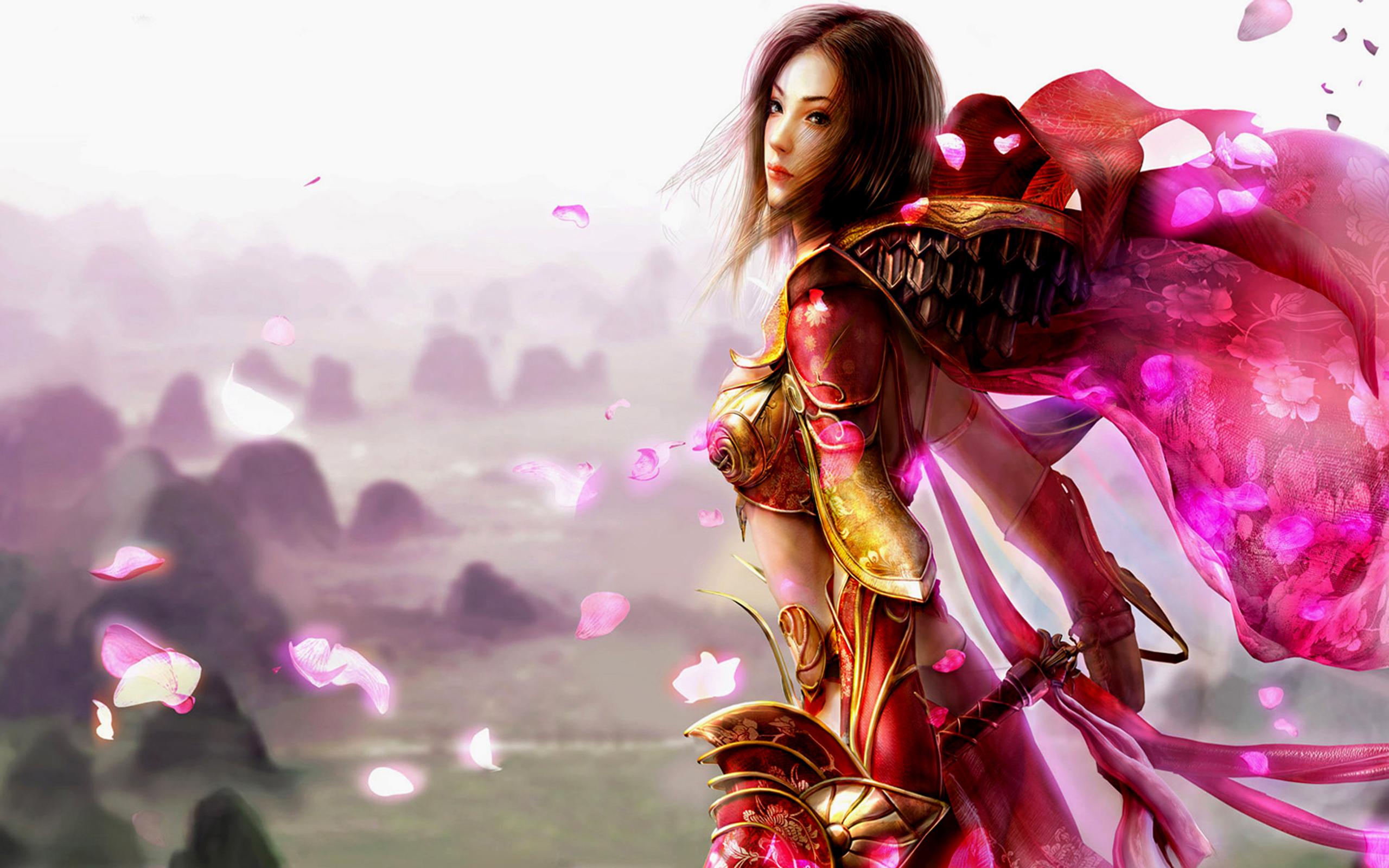 Jeux Vidéo - Legend Of Mir  Woman Guerrier(ère) Armor Epée Cloak Floraison Magnifique Silk Fond d'écran
