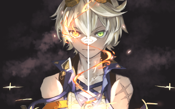 Video Game Genshin Impact Bennett Grey Hair Yellow Eyes Green Eyes HD Wallpaper | Background Image